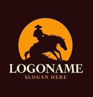 Modello di logo di sagoma di cavallo e cavaliere