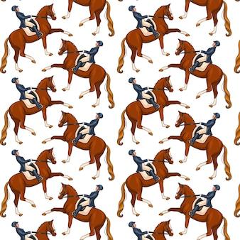 Modello senza cuciture di progettazione dell'illustrazione di equitazione su fondo bianco