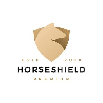 Icona di logo dello scudo di cavallo