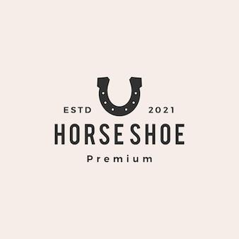 Illustrazione dell'icona di logo dell'annata dei pantaloni a vita bassa della lettera u del ferro di cavallo Vettore Premium
