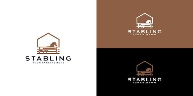 Logo di design vintage stalla per cavalli per il design del logo della fattoria rurale retrò della campagna occidentale