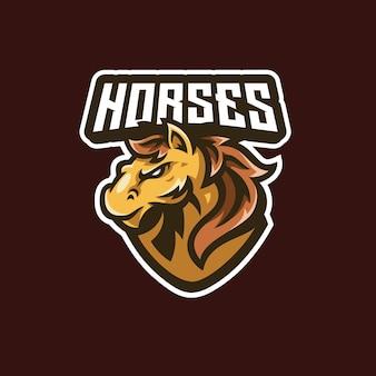 Illustrazione della mascotte della testa dello stallone del cavallo mustang esport cartoon logo design