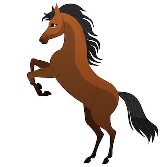 Cavallo. sta sulle zampe posteriori. simpatico personaggio di cavallo per illustrazioni per bambini.