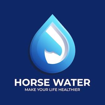 Logo icona cavallo e goccia d'acqua