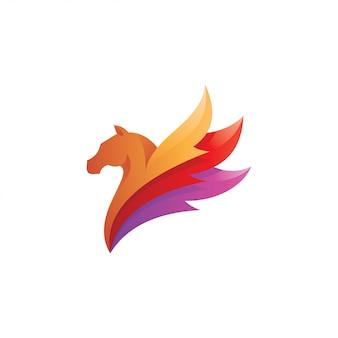 Logo di pegasus con piume di ali di cavallo