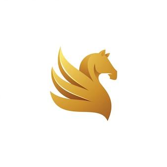 Logo della mascotte pegasus ala cavallo
