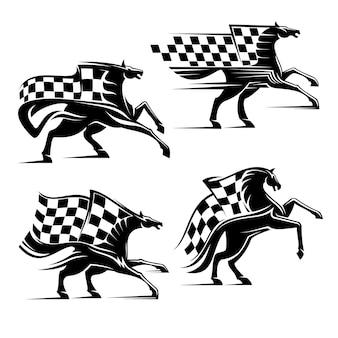 Cavallo con bandiera a scacchi isolato su bianco
