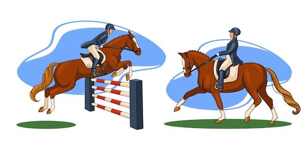 Equitazione. dressage e salto ostacoli. impostato. una donna a cavallo esegue un elemento di dressage e salta sopra un ostacolo.