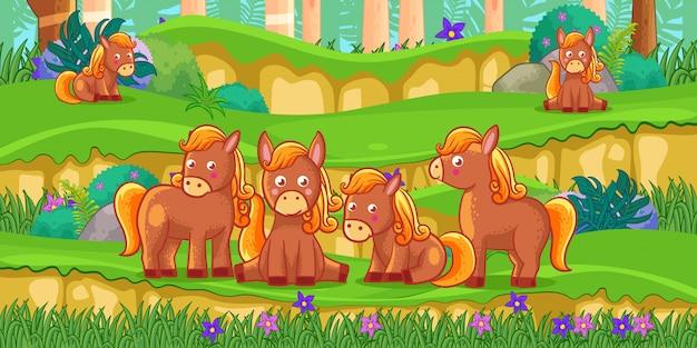 Cartone animato di cavalli nel bellissimo giardino
