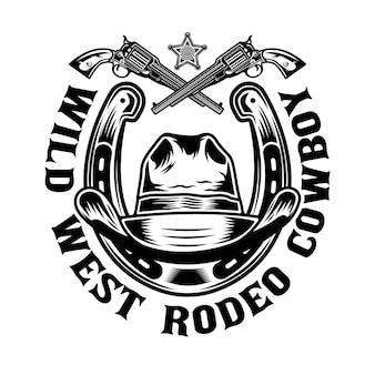 Ferro di cavallo e cappello da cowboy con pistole