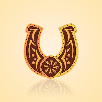 Ferro di cavallo con un bellissimo disegno di ornamenti dorati Vettore Premium