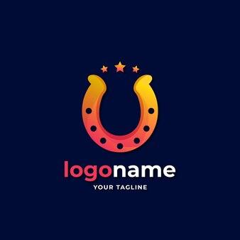 Logo a ferro di cavallo con stile sfumato a stella per azienda agricola ranch