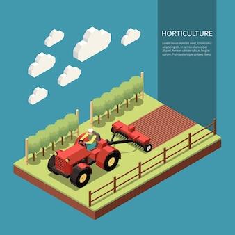 Composizione isometrica nell'orticoltura con il lavoratore agricolo che guida il trattore per il terreno di nozze nel giardino di frutta