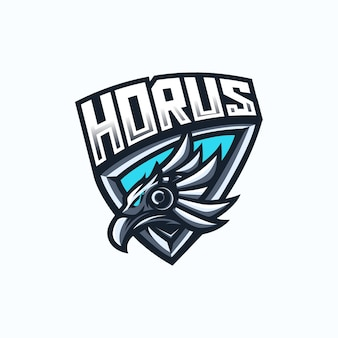 Modello di logo della mascotte di gioco di horus esport.