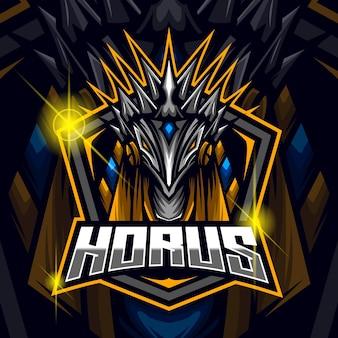 Horus esport logo design template vector illustration