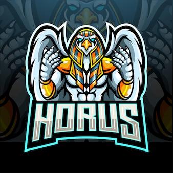 Design della mascotte logo horus esport
