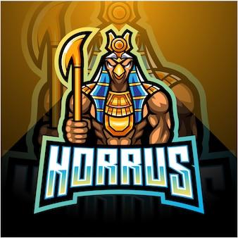Disegno del logo mascotte horus esport