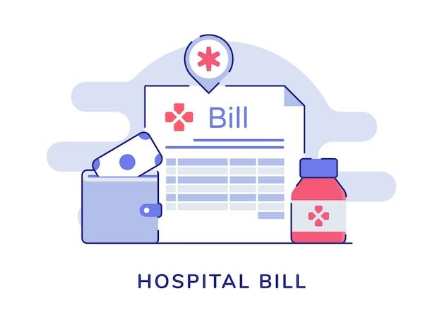 Farmacia della bottiglia del portafoglio dei soldi di sanità della fattura dell'ospedale