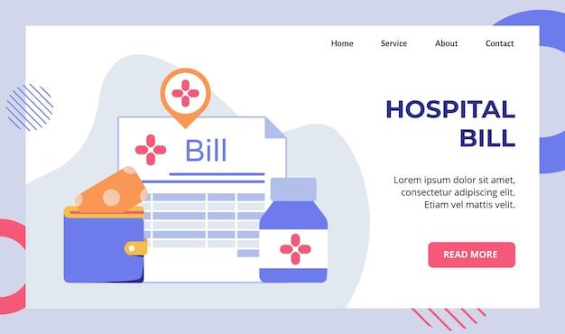 Fondo della carica di servizio della fattura dell'ospedale di soldi messi campagna dei farmaci della bottiglia del portafoglio per la pagina di destinazione della home page del sito web