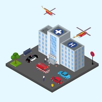 Illustrazione della costruzione dell'ospedale isometrica. servizio clinico sanitario di emergenza ambulanza medica.