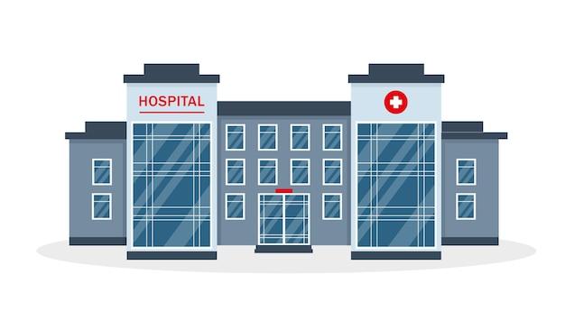 Edificio ospedaliero isolato su sfondo bianco.