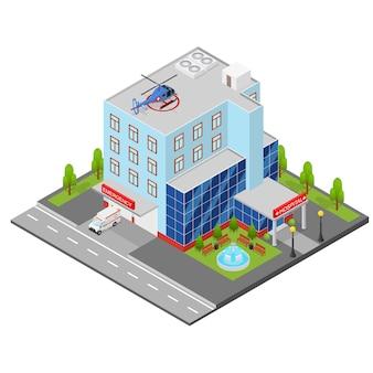 Ospedale edificio vista isometrica clinica architettura urbana moderna facciata esterna.