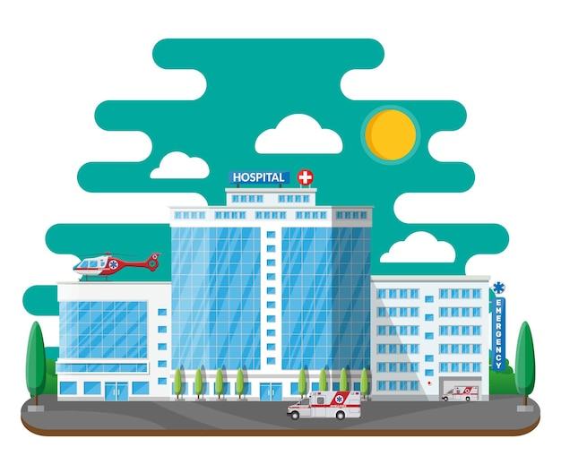 Edificio dell'ospedale, icona medica. diagnostica sanitaria, ospedaliera e medica. urgenza e servizi di emergenza. auto ed elicottero.