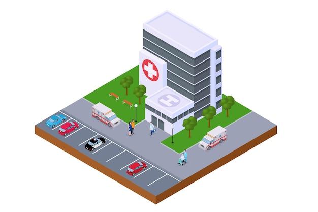 Centro ospedaliero isometrica edificio di emergenza illustrazione vettoriale ambulanza vicino alla moderna clinica me ...