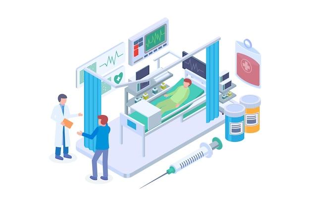 Concetto di vettore isometrico dell'unità di terapia intensiva ospedaliera