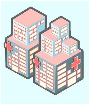 Illustrazioni di cartoni animati di progettazione isometrica dell'ospedale