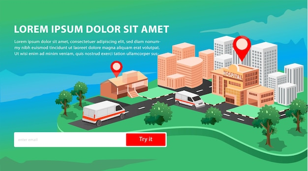 Posizione dell'ospedale e illustrazione isometrica di 2 auto ambulanze