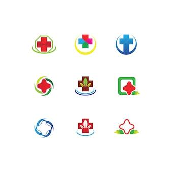 Logo dell'ospedale e icone del modello di simboli dell'icona di assistenza sanitaria app
