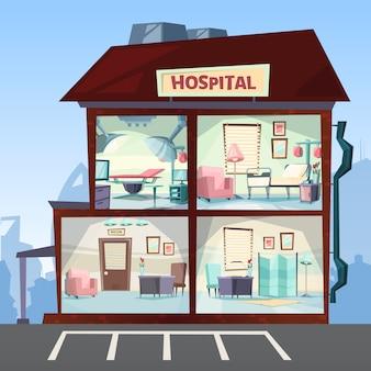 Ospedale. immagini di emergenza del corridoio interno delle stanze della clinica medica dell'ospedale