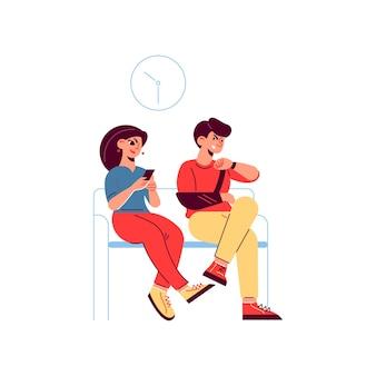 Composizione paziente medico di medicina ospedaliera con personaggi di persone in attesa sul divano