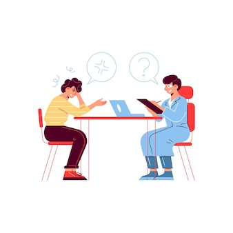 Composizione paziente medico di medicina ospedaliera con caratteri umani seduti al tavolo con bolle di pensiero