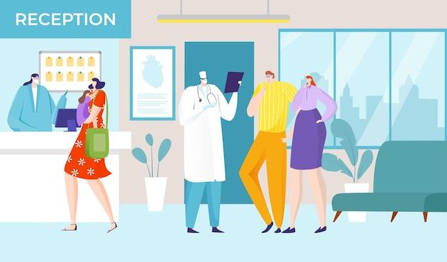 Infermiera ospedaliera design illustrazione stile cartone animato Vettore Premium