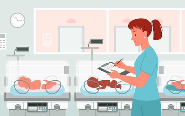Incubatrice del bambino prematuro dell'ospedale, assistenza sanitaria del bambino medico neonatale, illustrazione di vettore di concetto di prematurità. il neonatologo del pediatra dei cartoni animati lavora per prendersi cura del neonato dopo la nascita prematura