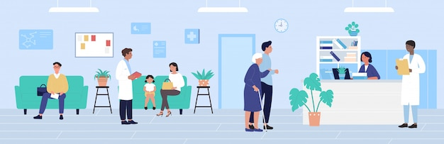 Illustrazione di ricezione ospedaliera, personaggi dei pazienti dei cartoni animati in attesa dell'appuntamento dei medici, sfondo dell'ufficio di medicina sanitaria
