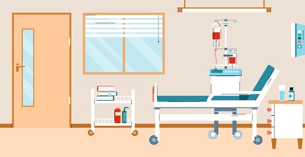 Stanza d'ospedale con letto e attrezzature mediche per il primo soccorso e il trattamento dei pazienti