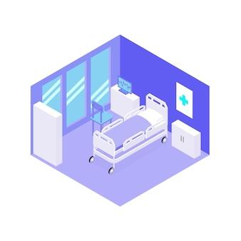 Stanza d'ospedale con vista isometrica dell'attrezzatura