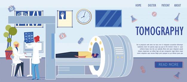 Modello di pagina di atterraggio della stanza di ospedale con macchina per tomografia