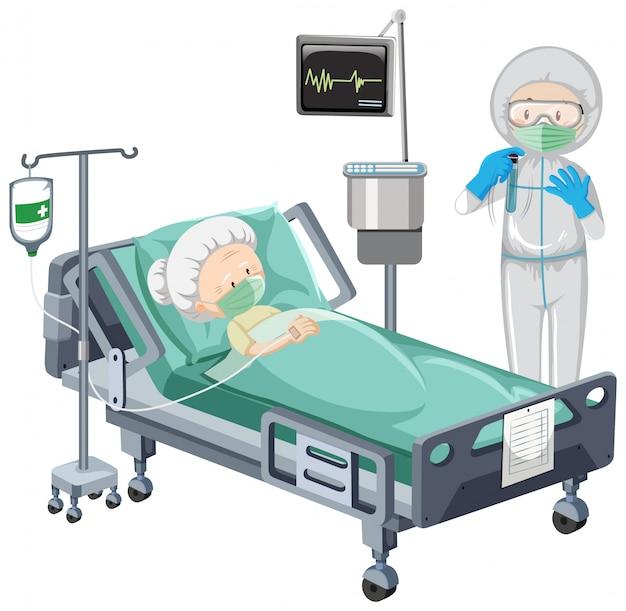 Scena dell'ospedale con il paziente malato a letto su fondo bianco