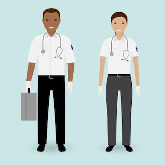 Concetto di personale ospedaliero. squadra dell'ambulanza dei paramedici.