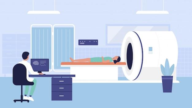 Illustrazione dell'esame di tomografia ospedaliera. scansione del carattere del medico della donna del fumetto, paziente d'esame sulla macchina di risonanza magnetica del tomografo dello scanner diagnostico nel fondo della stanza di scansione del laboratorio medico