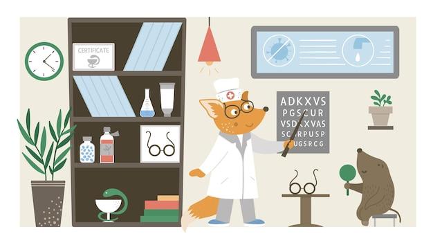 Reparto ospedaliero. medico animale divertente che controlla la vista dei pazienti nell'ufficio della clinica. illustrazione piana interna medica per i bambini. concetto di assistenza sanitaria