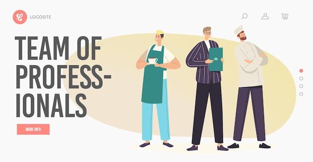 Modello di pagina di destinazione del team di ospitalità di professionisti. personaggi del personale del ristorante in uniforme chef in toque e grembiule, amministratore e cameriere con menu dimostrativo. cartoon persone illustrazione vettoriale