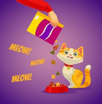 Personaggio ospite che alimenta il suo gatto. illustrazione di cartone animato piatto vettoriale