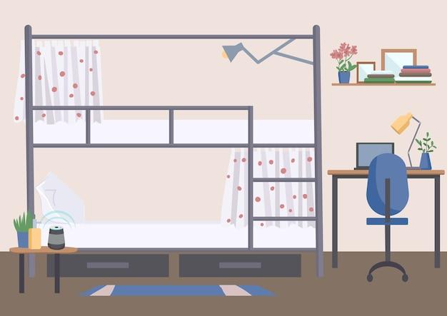 Illustrazione di colore piatto della stanza del dormitorio dell'ostello interno del fumetto della sistemazione del dormitorio dell'università con letto a castello sullo sfondo esperienza universitaria di stile di vita degli studenti stanza condivisa vuota