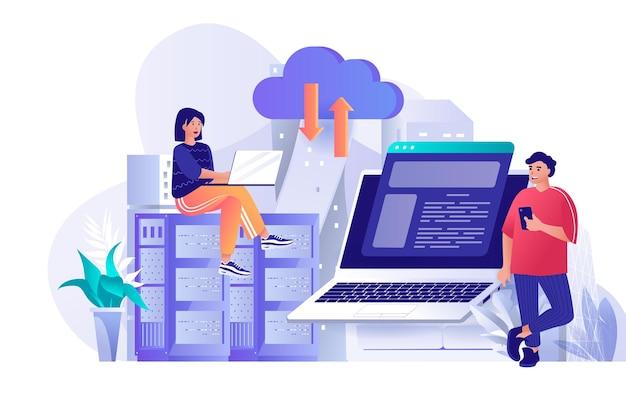 Illustrazione del concetto di design piatto del provider di hosting dei personaggi delle persone
