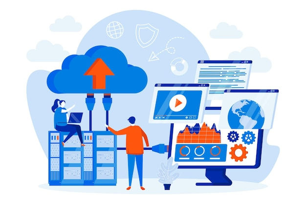 Concetto di web design di provider di hosting con illustrazione di personaggi di persone